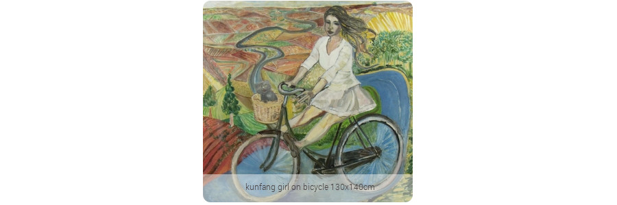kunfang_girl_on_bicycle_130x140cm